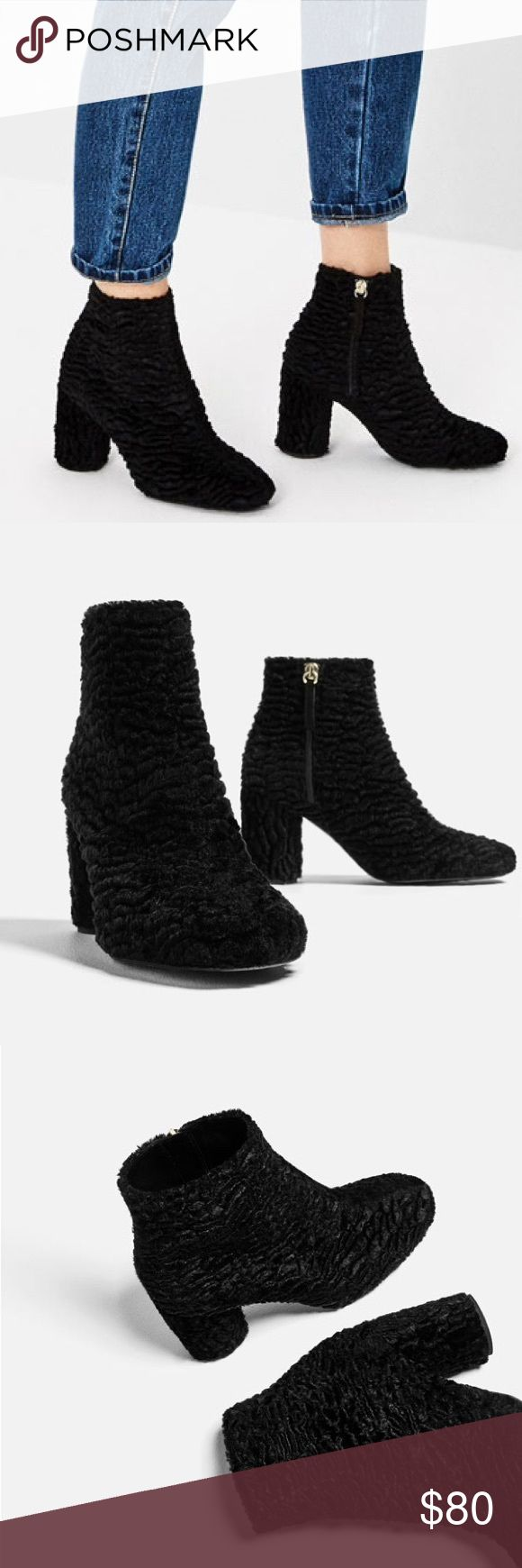 """ZARA FAUX FUR ANKLE BOOTS New with tags, no box. Size 37/6.5. Black high heel ankle boots. Faux fur finish detail, rounded toe, size zip closure. Lined rounded heel. Heel height: 3.2"""". Zara Shoes Ankle Boots & Booties"""
