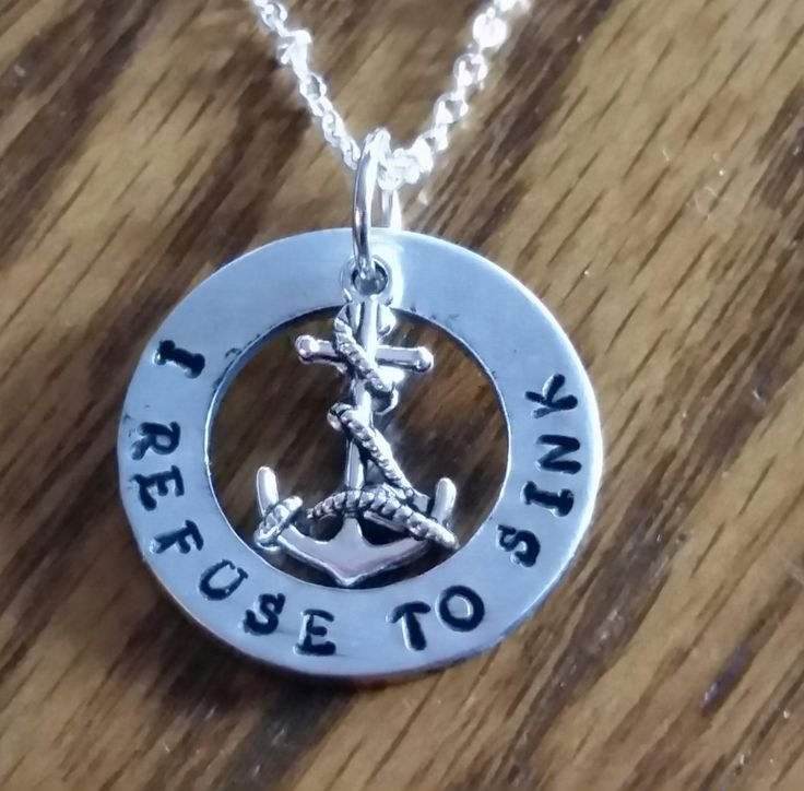anchor necklace I refuse to sink necklace handstamped jewelry with anchor charm sobriety jewelry inspirational survivor jewelry unisex by TiffysLove on Etsy