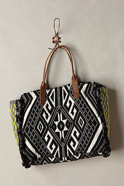 black and white tribal tote