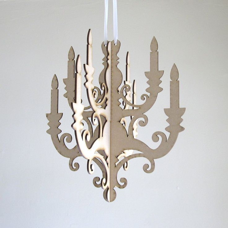 Small Wood Chandelier Laser Cut Mdf Diy By Seequin On Etsy