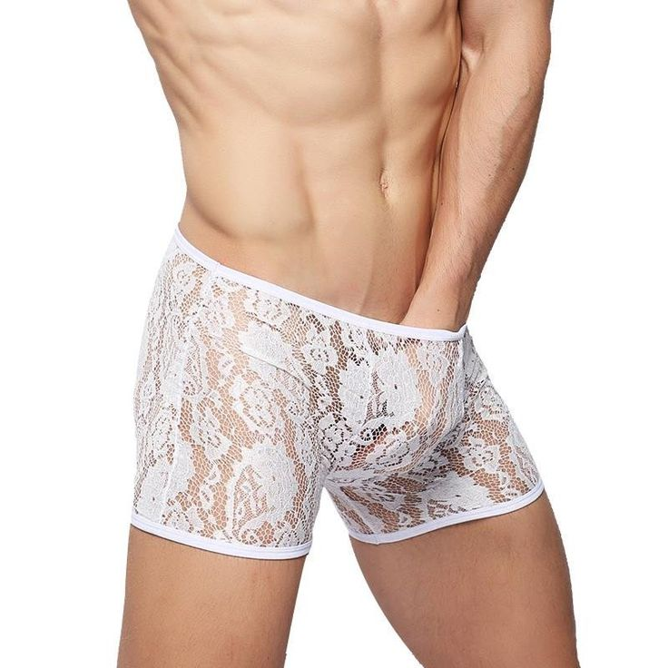 Sexy Boxers Underwear Men Lace See Through Transparent High Quality Shorts Cuecas Ropa Interior Hombre Calzoncillos Marcas Male