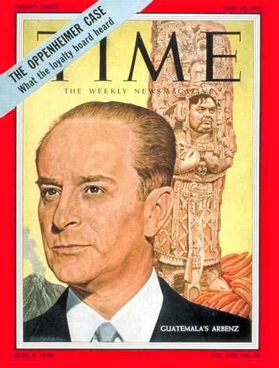This Time Magazine cover from June 28, 1954 showed the US involvement in Guatemala. The US got involved with Guatemalan affairs because they accused the Guatemalan gov't of being an outpost of Communism because they were getting weapons imported from Czechoslovakia.
