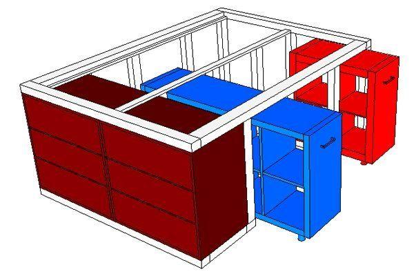 Ikea Hack Aus Dem Kallax Regal Und Der Malm Kommode Wird Ein Bett Mit Unterbauschrank Mit Bildern Malm Kommode Ikea Diy Kallax