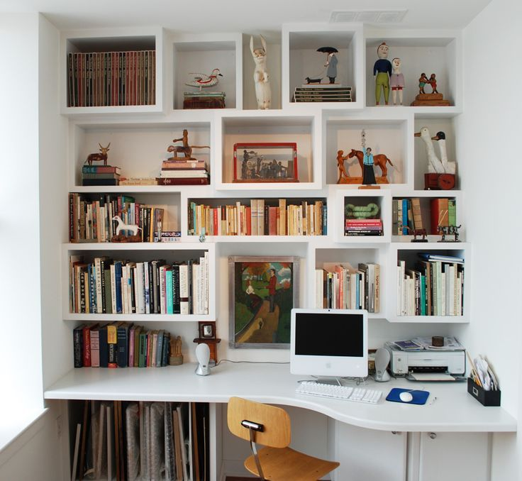 built-in desk and shelves. Like that the shelves are different dimensions.