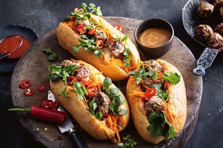 Vietnamese spicy meatball banh mi
