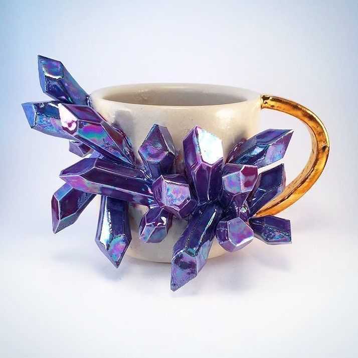 From this day forward I only want to drink tea out of this magical crystal cluster cup!  Any other cup would seem inferior. Right?!! @essarai_ceramics this is everything! #crystalcluster #crystals #handmade #ceramics #amethyst #crystallove