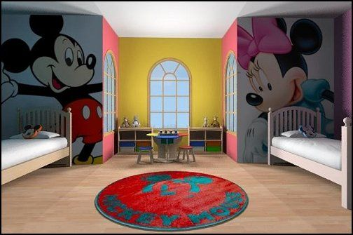 disney themed shared bedroom for boy and girl decorative