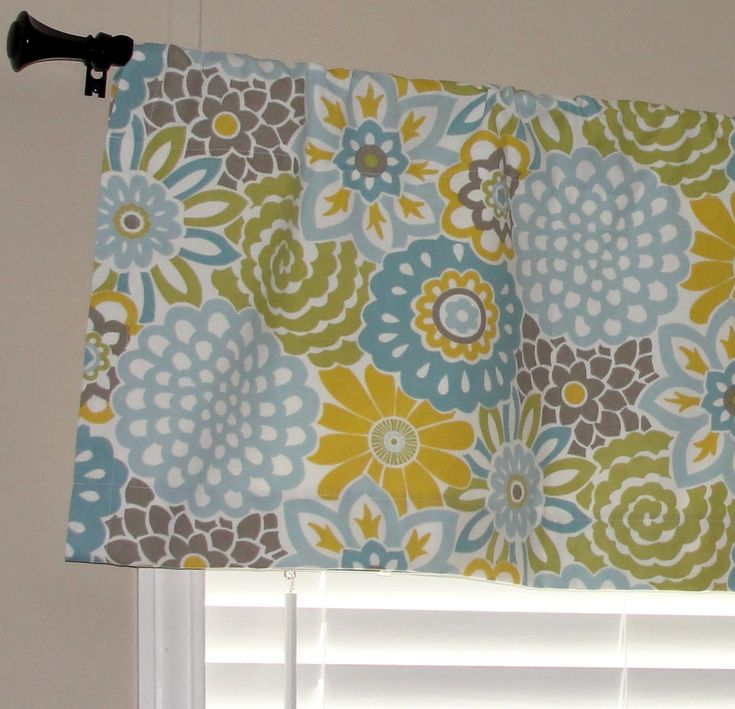 """Waverly Buttons and Blooms Spa Valance 52"""" wide x 16"""" long Big Bold Flowers Lined Cotton Muslin Light Blue Yellow Teal Putty Avocado Green"""
