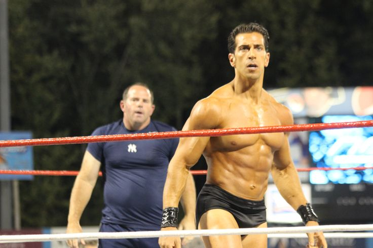 Joe Ausanio and Romeo Roselli battle it out in the ring during Wrestling Under the Stars II, located at Dutchess Stadium in Wappingers Falls, NY.
