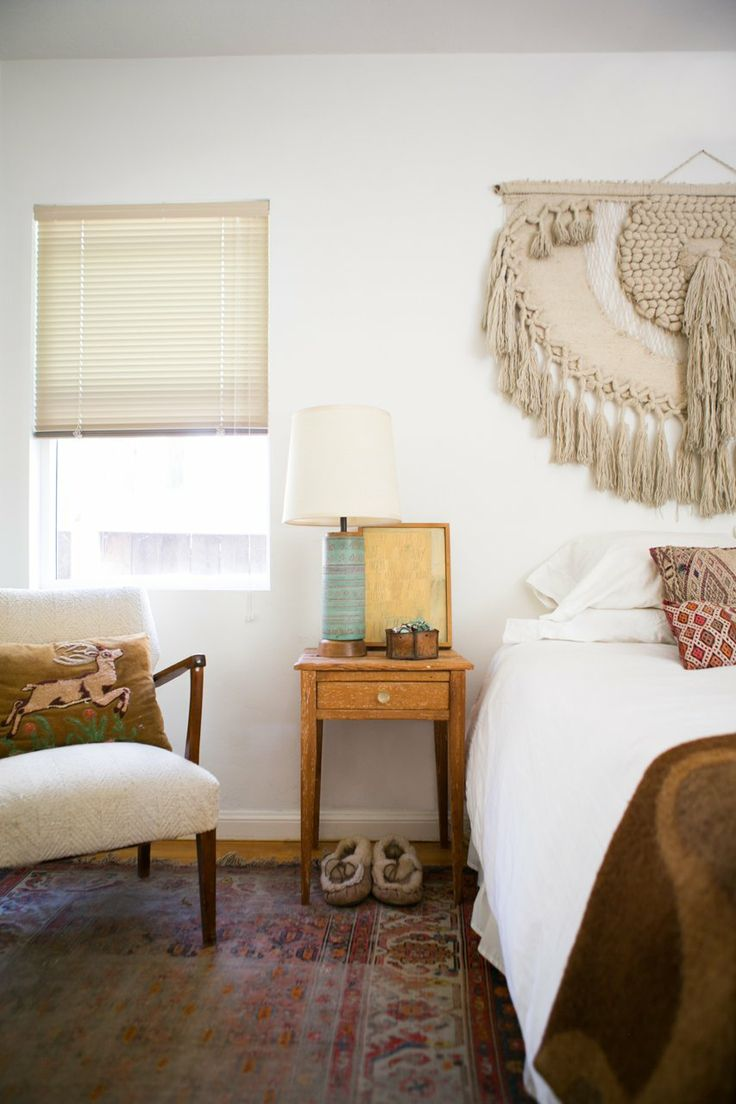 macrame over the bed gregory and jennys relaxed hippie bungalow house tour apartment therapy: kitty otoole elegant whimsical bedroom