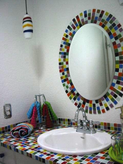 Bijou Multi Colored Glass Tile Bathroom Sink And Mirror