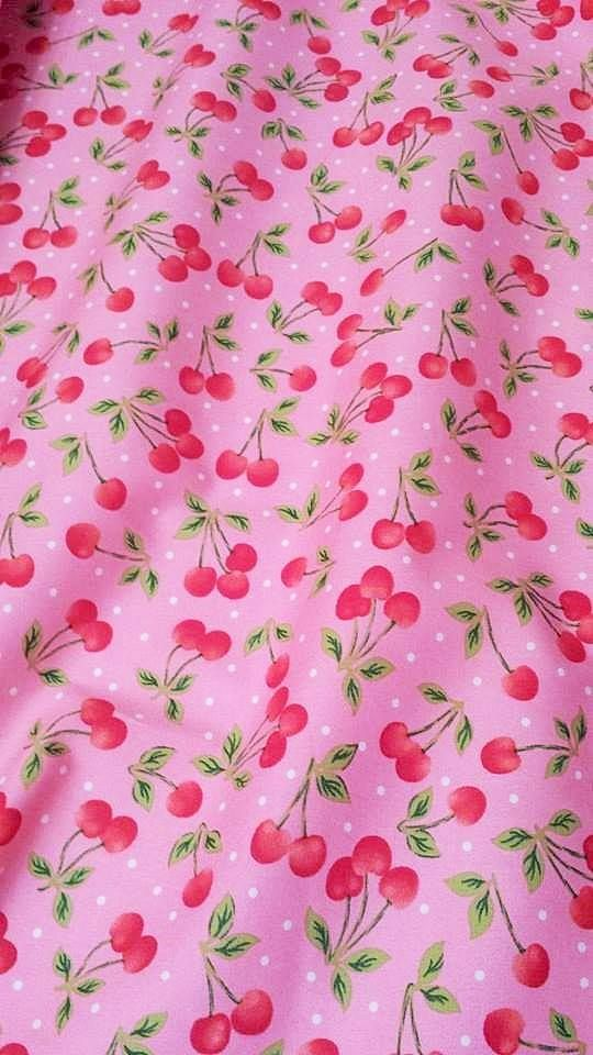 No.36: Cherries on pink with mini white polkadots.