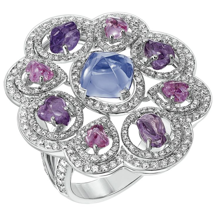 "Charismatique"" #Ring from #TalismansDeChanel - #Chanel - #FineJewellery collection in 18K white gold set with a 2 carat #SugarloafCut blue #Tanzanite - 4 #BaroqueCut violet #Sapphires (total weight 1,9 carats), 4 baroque cut pink sapphires, 314 #BrilliantCut - #Diamonds (total weight 1,1 carats) july 2015"