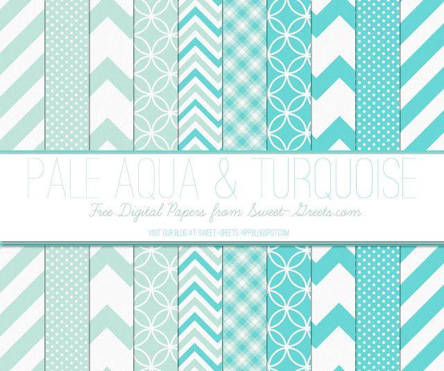 Free Digital Paper Set: Pale Aqua and Turquoise