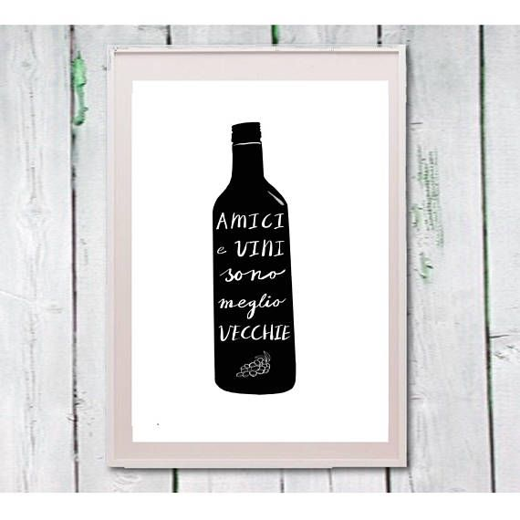 Kitchen art Italian quote printable wine bottle  Instant