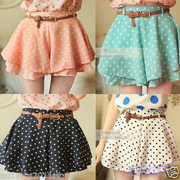 Retro Pleated Polka Dot Chiffon Divided Skirt Mini Dress Shorts culottes w/Belt