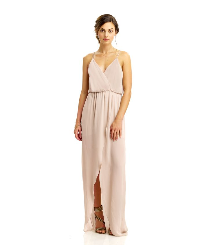 Rory Beca Jones Fishtail Wrap Bridesmaid Gown $267 - love champagne, but really love all the colors! Even black and bright blue!
