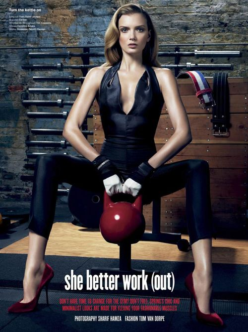 Model: Lily Donaldson | Photographer: Sharif Hamza - 'She Better Work (out)' for V Magazine March 2012