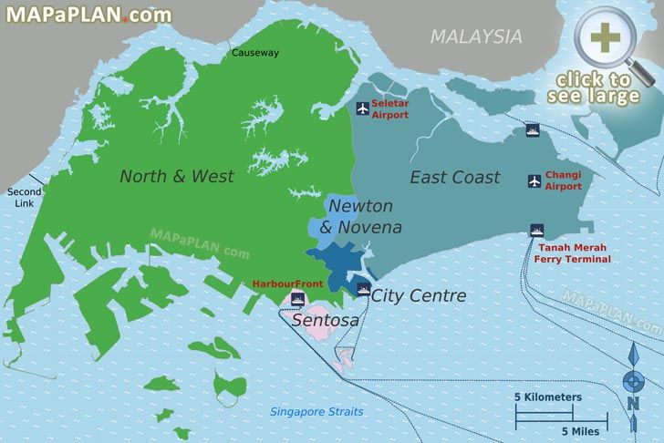 Main district areas Singapore top tourist attractions map