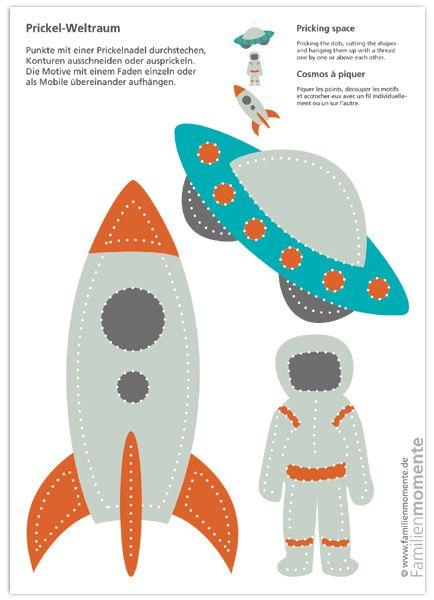 Weltraum-Prickeln – Bastelbogen mit Rakete, Ufo und Astronaut – prickelt euch die Weltraum-Deko fürs Kinderzimmer
