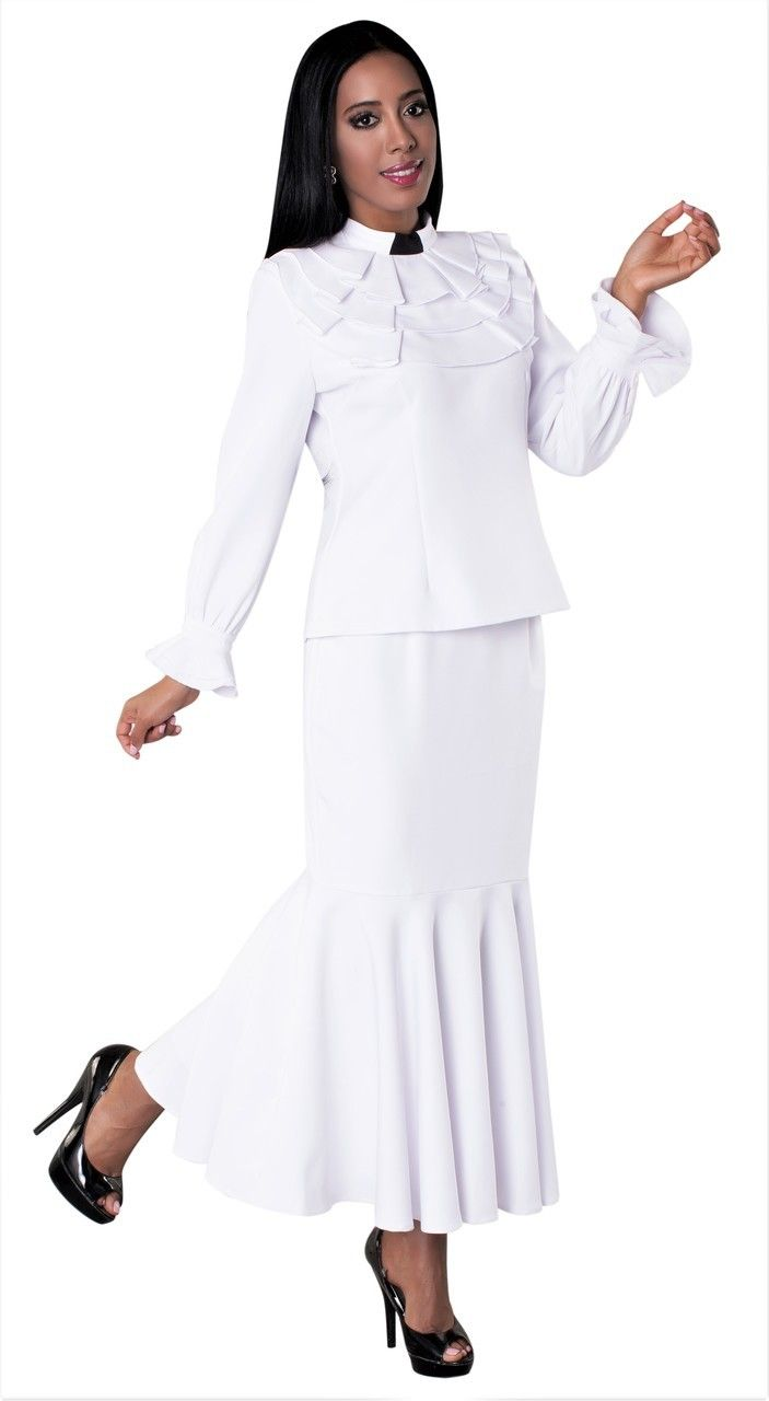 24648f7d989 01. Ladies 2-Piece Preaching Skirt Set In White - Divinity Clergy Wear