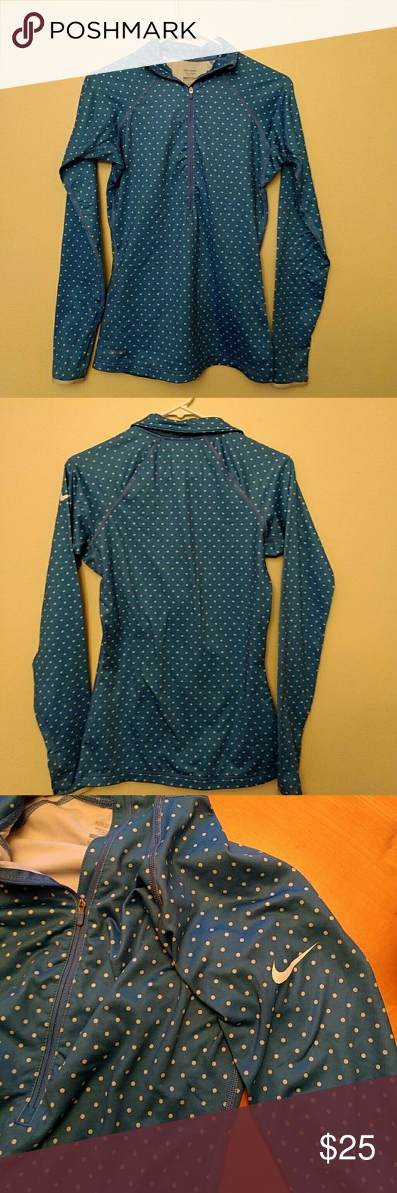 Nike Pro Polka Dot Zip Up Nike pro polka dot long sleeve zip up! In perfect condition, very warm and flattering to an hourglass figure! Nike Tops Sweatshirts & Hoodies