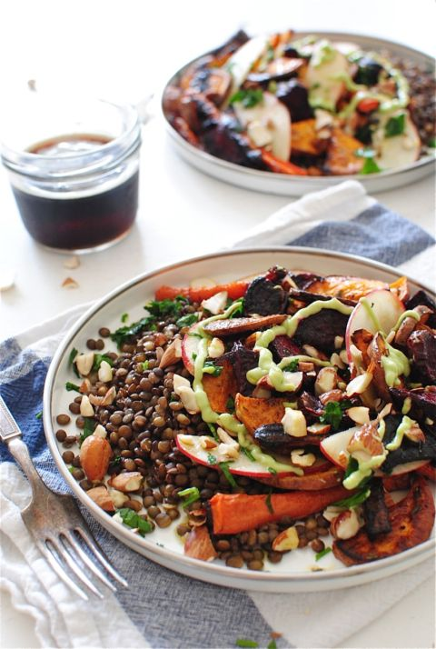 French Lentils with Roasted Root Vegetables - Bev Cooks