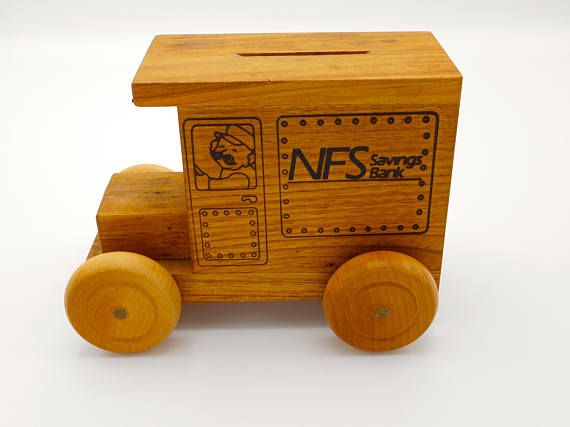 Wood Truck Bank  NFS Savings Bank Logomobile 1989 Made in