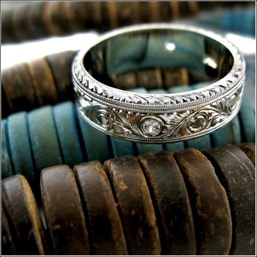 Platinum Victorian Looking 7mm Wide Mens Wedding Band Custom Hand Engraved All Around Topped Cz