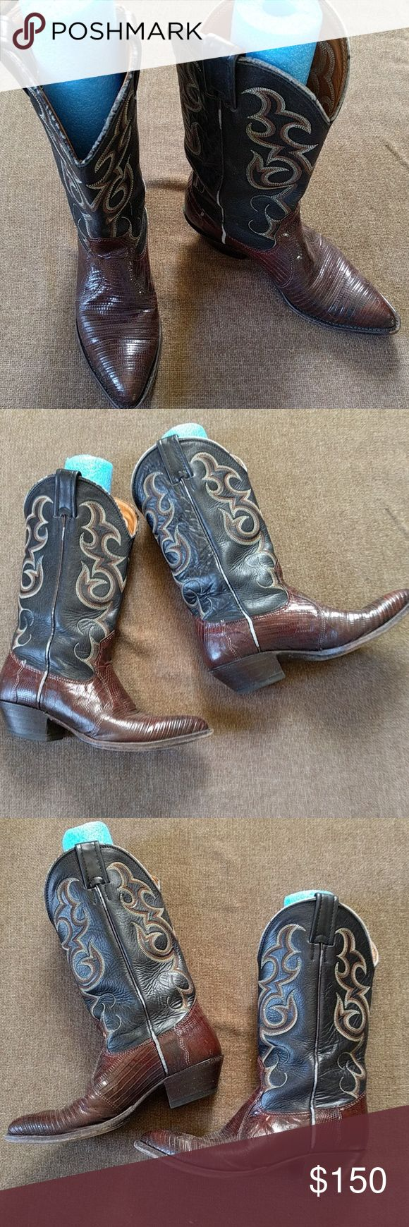Nocona cowboy boots These leather boots rock. Outlaw country!!   Inside, says 5 1/2 B but they run really big. I'd say they're more of a 6.5 but I have tiny feet. Needed 2x thick socks. There's a little wearing on the side piping otherwise awesome shape! Shoes Heeled Boots