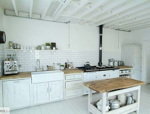 everything I want: subway tile, lots of white and wood, old fashioned stove, open island
