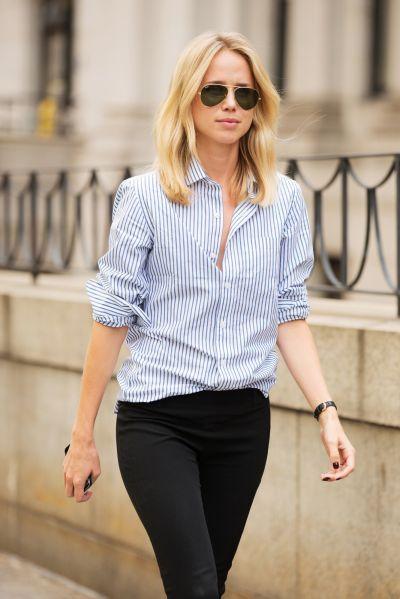 Casual. Preppy. Oxford shirt. Aviator sunglasses.