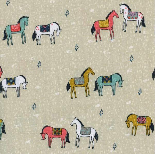 Tissu Sarah Watts - Collection Honeymoon biface - Cotton and Steel Fabrics - designer américain - Horseback in Neutral - A cheval : Tissus Habillement, Déco par les-enfants-papillotes