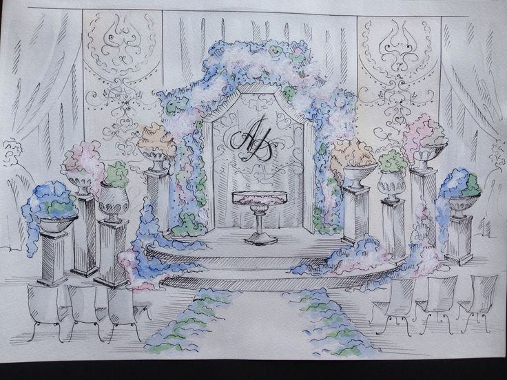 Sketch for blue wedding alter