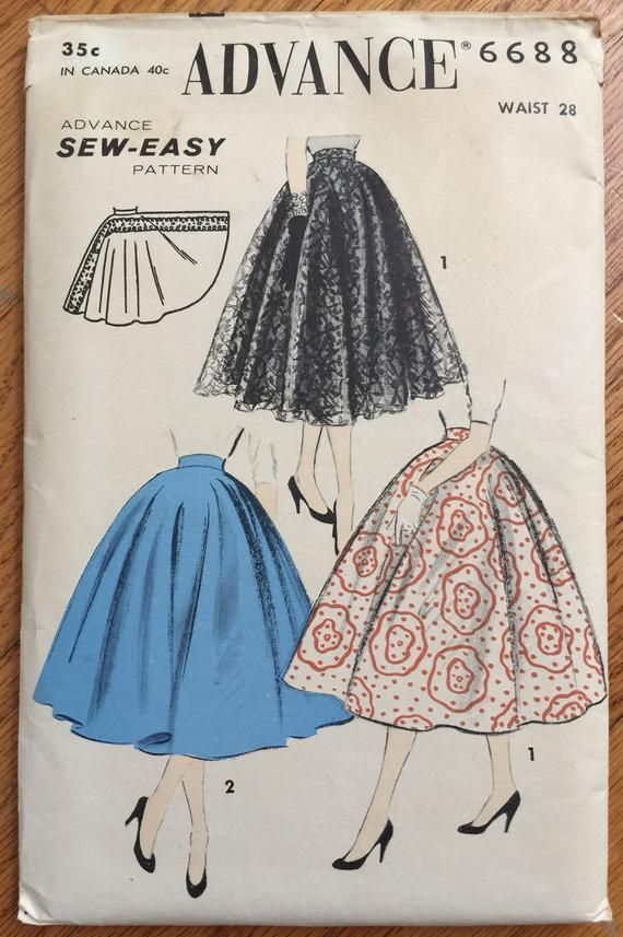 Vintage 1950s Womens Waist 28 Full Circle Skirt Advance 6688 Sewing