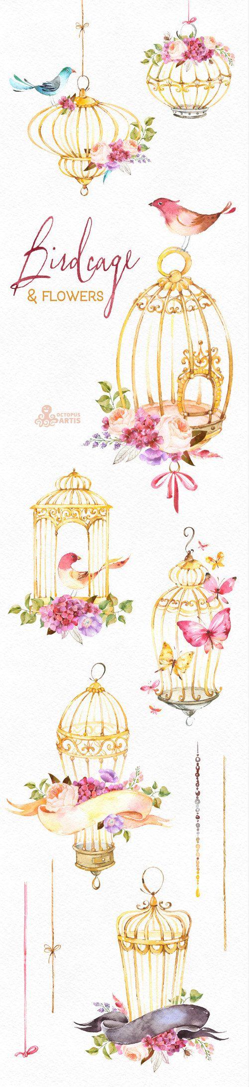 Jaula y flores. Acuarela Floral clipart aves rosas