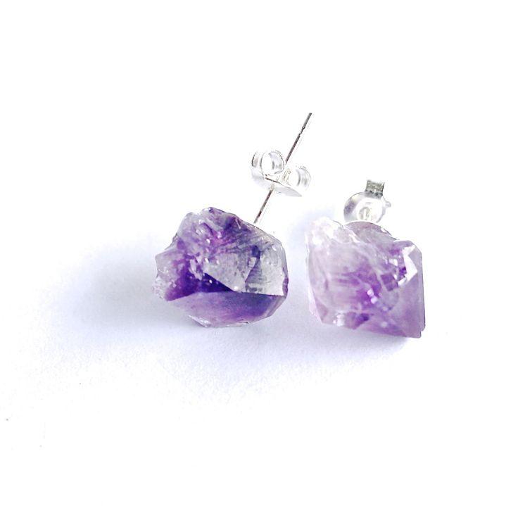 Amethyst crystal earrings studs