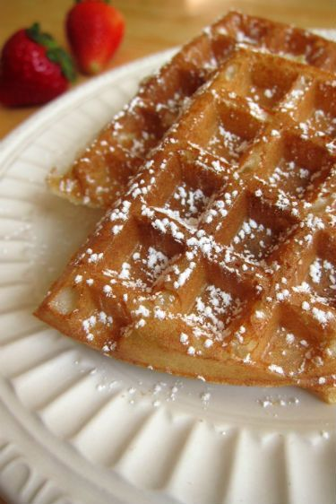 Club Soda Waffles. These pictures can't convey the awesome taste and texture. The club soda makes the waffles crispy and airy – when you bite into the waffle you can see all the little air pockets. They almost remind me of zeppoles - and who wouldn't love zeppoles for breakfast? We even sprinkled a little powdered sugar on some, though they were delicious even just plain.