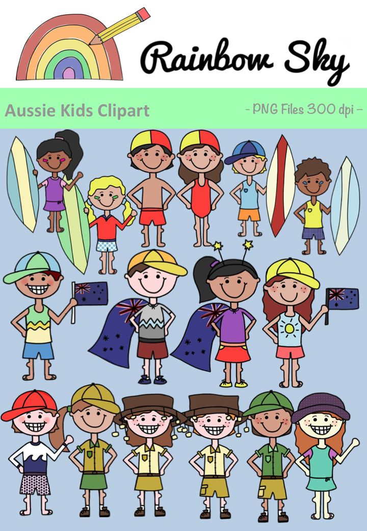 Included in the set are 32 graphics in colour and with black line originals.  ➢ 2 surfer boys and girls ➢ 1 boy and girl holding Aussie flag ➢ 1 boy and girl with Aussie flag capes ➢ 1 boy and girl in summer clothes ➢ 1 boy and girl lifeguard ➢ 1 boy and girl with cork hats ➢ 1 boy and girl in fatigues All graphics are .PNG files at 300 dpi for clear, crisp printing with transparent backgrounds. ~ Rainbow Sky Creations ~