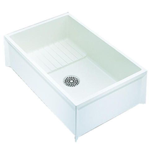 "Dog wash station base. Menards' Mop Service Basin 24""x36""x10"" for 3"" PVC, ABS or Iron DWV  •Mop Service Basin made of 1-pc molded Durastone fiberglass. Integrally molded drain with drain seal for 3"" ABS, PVC sch. 80 and iron pipe and molded self-draining shelf. Removable stainless steel strainer. Basin is code approved. Size 24""x36"". Height: 10"" with 1"" wide shoulder. $221"