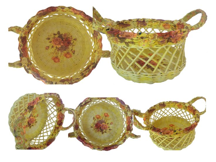 Beautiful basket made from old newspaper. Diameter : 29 cm Height : 16.5 cm Colour : Yellow