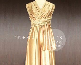 MAXI champán Dama de honor vestido vestido por thedaintyard en Etsy