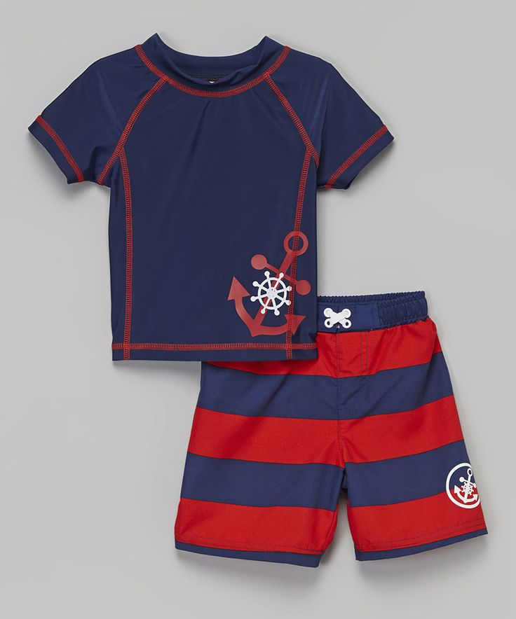 Love this Navy & Red Anchor Rashguard & Boardshorts - Infant & Toddler by Baby Buns on #zulily! #zulilyfinds