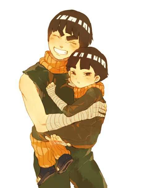 Not sure why the kid is scowling...isn't he used to this by now? Aww, Rock Lee looks so happy :D