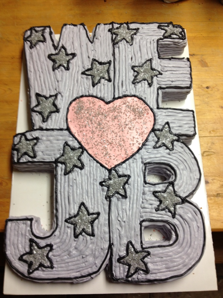 A cake for a Justin Bieber birthday party - we love JB!  I cut this out of a 12x18 rectangular cake (the cake is still one piece).  :)