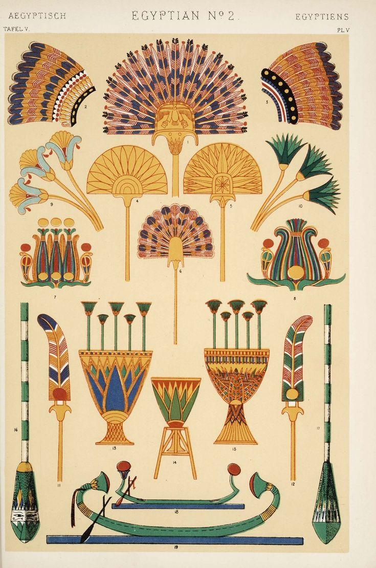 """illustration : répertoire de motifs égyptiens, """"grammaire de l'ornement"""", Owen Jones, planche n°2, 1856"""