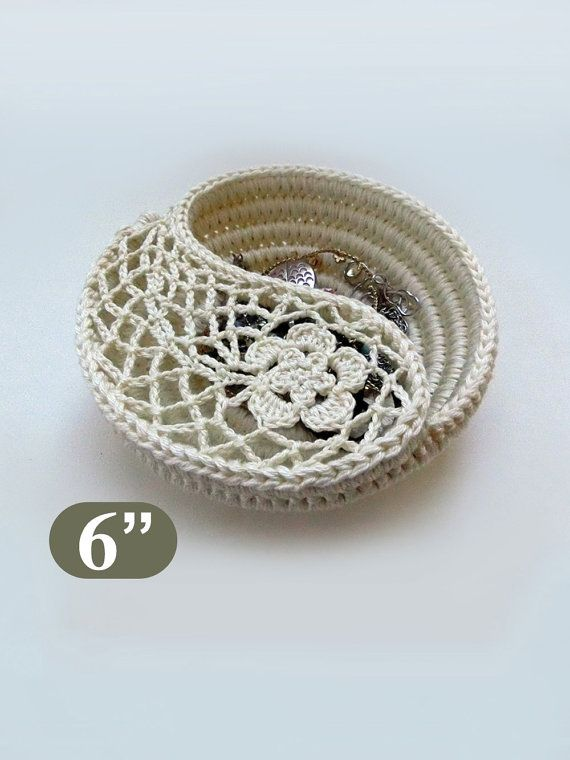 "Crochet Basket Pattern, Yin Yang Jewelry Dish 6, Photo Tutorial. Rings plate, Crochet gift for her. This listing is for the instant download PDF file, and NOT the finished product. ** THIS IS THE 6 DISH PATTERN ** Two versions of this pattern are sold separately, the 4"" and the 6"" dish **. 2 patterns bundle: https://www.etsy.com/listing/216680063/yin-yang-jewelry-dish-pattern-4-6-diy?ref=shop_home_active_4 4 patterns bundle…"