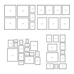 IKEA - MÅTTEBY, Aufhängeschablone 4er-Set, Die Aufhängeschablone lässt sich aufteilen - so können Bilder zu mehreren kleineren Collagen angeordnet und aufgehängt werden.