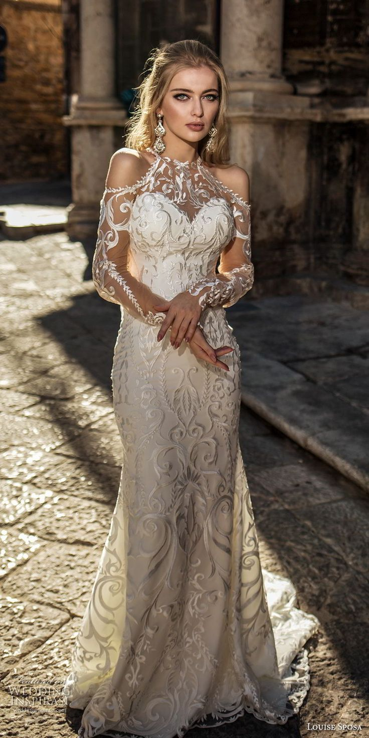 louise sposa 2018 bridal long sleeves cold shoulder halter sweetheart neck full embellishment elegant glamorous sheathw wedding dress sheer lace back medium train (12) mv -- Louise Sposa 2018 Wedding Dresses