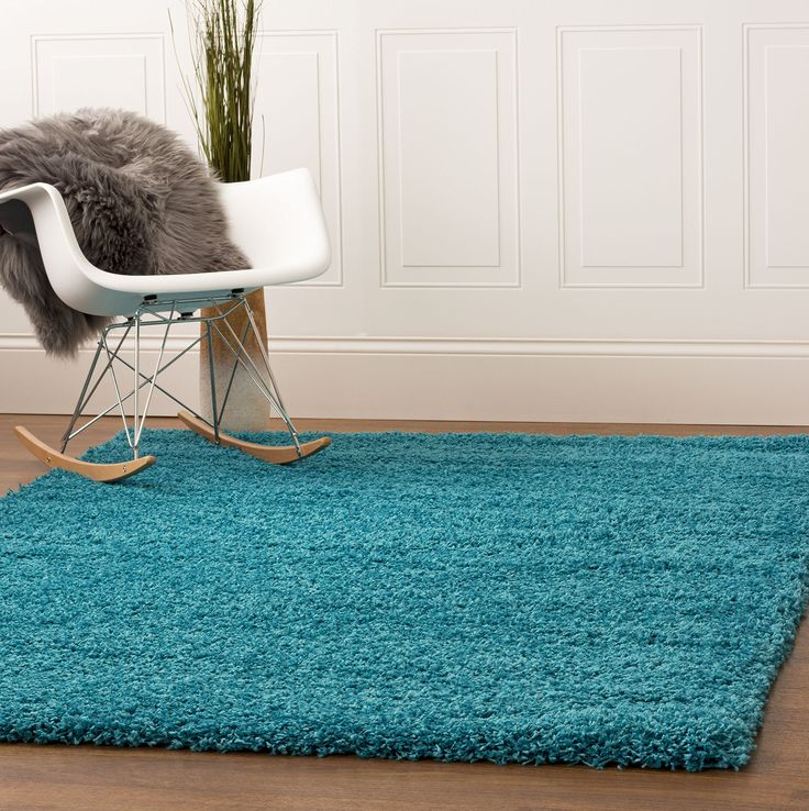 Turquoise Green Shag Rug, 4-Feet by 6-Feet Stain-Resistant Non-Shed Living Room Easy Care 4x6 Carpet